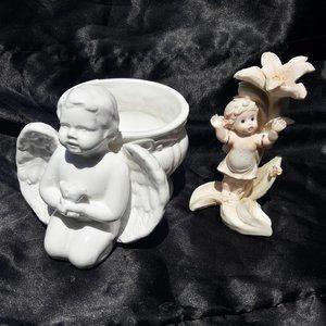 Ceramic Planter Cherub Angel Figurine Set Vintage